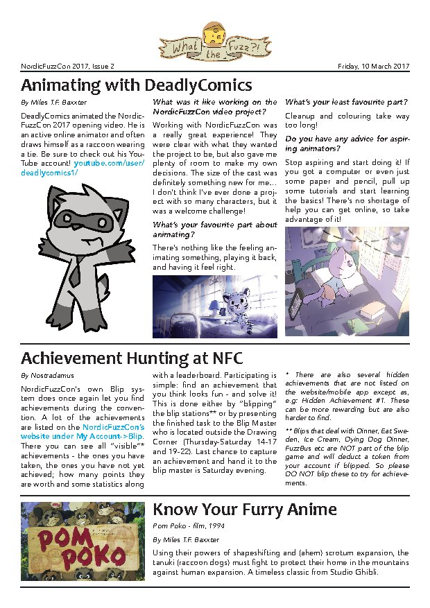 The first page of What The Fuzz issue 2 from 2017